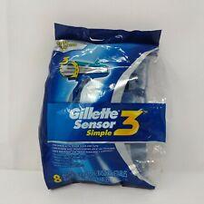 NEW Gillette Sensor Simple 3 Disposable Razors Ultra Grip Lubrastrip 8 Pack