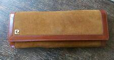 Pelle scamosciata marrone vintage Pierre Cardin Borsa Wallet Clutch