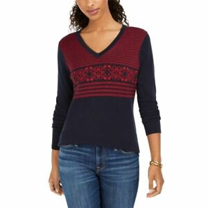 TOMMY HILFIGER Women's Fair Isle Ivy Cotton V-Neck Sweater Top TEDO