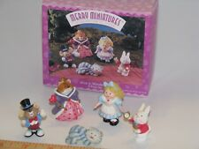 Hallmark Merry Miniatures Alice in Wonderland New 5 Piece Set 1996 Box set