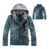 Men's Denim Jacket Hooded Retro slim Jean outwear Fashion Vintage Hoodie coat