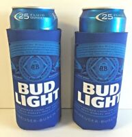 Bud Light Beer 24 oz. Koozie - Set of 2 - Fits 25 oz Extra Ounce Cans New & F/S