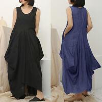 UK Women Sleeveless Loose Cotton Shirt Tank Dress Kaftan Long Maxi Dress Plus