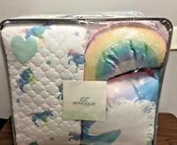 6 pc Unicorn Rainbow FULL QUEEN SIZE Set Comforter Sham Sequin Pillows Envogue
