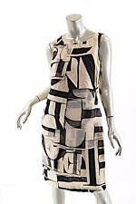 BITTE KAI RAND Black/Tan100% LINEN Asymmetric Sheath Dress w/Silk Trim- NWT - XS