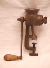 Vintage Pat. 1899 Puritan Meat Grinder w Wooden Handle Kitchen Utensil Tool USA