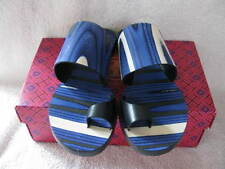 NIB $350 TORY BURCH KEMPNER FLAT SLIDE NAVY BLUE HAVIANO BAND SANDAL 9.5