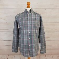 Ben Sherman Mens Black Long Sleeve Button Down Gingham Check Shirt Mod Size M