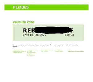 £20.98 Flixbus voucher travel bus coach valid until January 2022