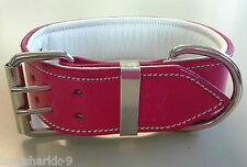 Large Pink Leather Dog Collar with Soft White Leather Inner Lining