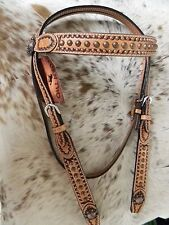 Light Oil Premium Leather Western Horse Browband Headstall TACK NEW