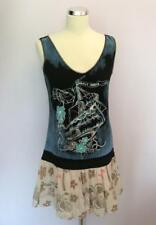 CUSTO BLACK & BLUE BOAT PRINT SLEEVELESS WITH PINK TIER TOP SIZE 3 UK 12/14