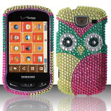 For Samsung Brightside U380 Crystal BLING Hard Case Snap Phone Cover Green Owl