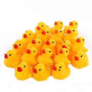 1ct - 100ct Bulk Mini Rubber Yellow Duck Float Squeak Bath Classic Squeaky Toys