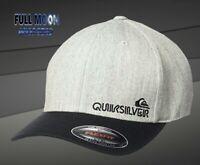 New Quiksilver Sidestay Flexfit Charcoal Heather Mens Cap Hat