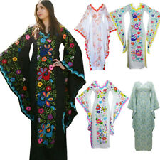 Women Casual Bohemian Dress Print V Neck Trumpet Sleeve Long Maxi Dress Size