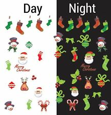 Nail Art Water Decals Glow in the Dark Merry Christmas Santa Snowman Gid045
