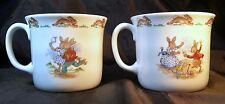 2 Royal Doulton China BUNNYKINS Cup/Mug One Handle Roller Skating & Puppet Show