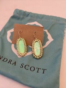 Vintage Kendra Scott Dayla Earrings Gold Color Dichroic Stones Custom With Pouch