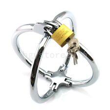 Roleplay Steel Cross Handcuffs Lockable Wrist Restraints Shackle Slave Cuffs fan