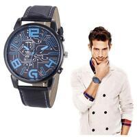 Fashion Luxury Men's Leather Strap Analog Quartz Sports Wrist Watch Watches Hot