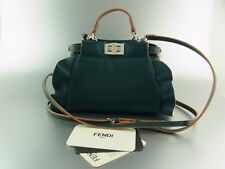 FENDI PEEKABOO Micro borsa mini bag petrol in pelle leather RUFFLE Limited Edition