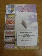 22/04/2012 Football Programme: Surrey County Youth And Girls Cup Finals - U11 Yo