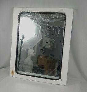 "Wall Mirror Rectangle 24 X 32"" Leoriso Black Frame Bathroom Bedroom Livingroom"
