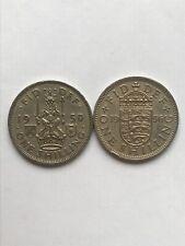 X2 Old One Shilling Georgivs VI 1950 and Elizabeth II 1956