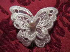 Handmade With Safety Clasp Pin Very Pretty Embroidery Lace Butterfly Brooch