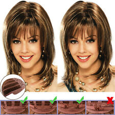 Womens Golden Brown Shoulder Length Hair Full Wigs Straight Wig Cosplay Party