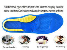 Men Gel Insoles Shoes Pad Insert Foot Arch Support Pain Relief Cut to Size 5-10