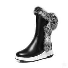Women's Fur Trim Low Heel Ankle Boots Warm Snow High Top Shoes Winter Size 34-43