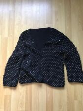 Topshop Sequin Beaded Black Cardigan M