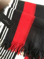 ZARA COLOURFUL KNIT STRIPED SCARF WRAP SHAWL WITH FRINGES RED BLACK