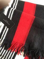 ZARA COLORATA Maglia A Righe Sciarpa Wrap Scialle con frange rosso nero