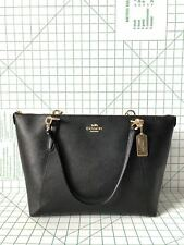 Coach F57526 Crossgrain Leather Ava Zip Tote Handbag in Black