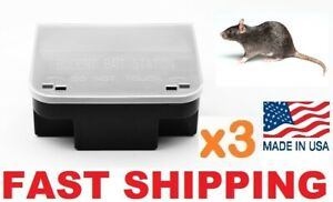 3 x PRO RAT MOUSE RODENT BAIT STATION Lockable Tamper & Weather Proof Traps USA