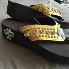 Bling Flip Flops Ladies Western Cushion Rhinestone Concho Sandals Sz 9