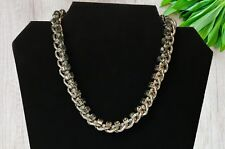 Ladies Necklace Silver-Tone Chunky Link Chain Smoke Grey Crystal Stone Pre-Loved