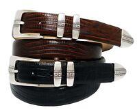 "Brandon Men's Italian Leather Designer Dress Belt 1-1/8"" Wide, Black Brown"