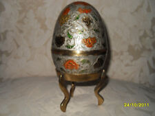 BEAUTIFUL VINTAGE BRASS TRINKET EGG - MADE IN INDIA - RAISED FLORAL ETCHING