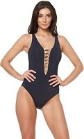Bleu Rod Beattie Women's 243841 Black Rose Gold One Piece Swimsuit Size 14