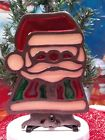 Vintage Metal Stained Glass cast iron Santa Claus- Tea Light/Candle Holder