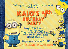 Minion DESPICABLE ME Personalised Birthday Party Invitations x8Thick cards Pack