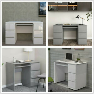 90/120cm Computer Desk High Gloss w/Drawers PC Dressing Table Workstation XMAS