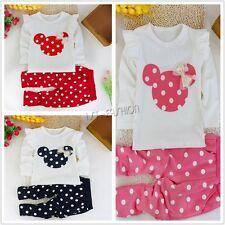Baby Mädchen Kinder Polka Dots Anzug Set Jogginganzug Shirt Geschenk Geburt NEU