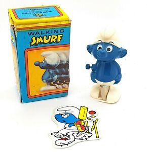 Vintage 1980 Smurfs Wind Up Toy Sticker Box Wallace Berrie Schleich