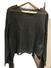 Ladies Eileen Fisher Dark Grey Sheer Top Lightweight Jumper Italian Yarn Size L