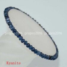 Natural 2x4mm Beautiful Faceted Kynaite Roundlle Gemstones Bracelet 7.5inch PB85